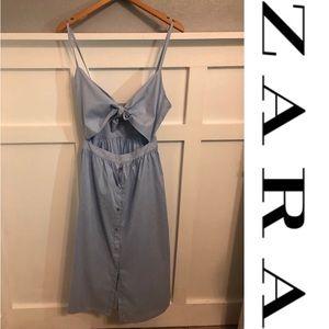 NWOT Self-Tie Top w Button Skirt Blue Dress